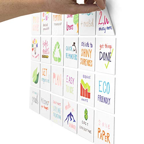 mcSquares Stickies 4x4 Dry-Erase Sticky Notes   24-Pack Reusable White Board Stickers with Included Smudge-Free Wet-Erase Tackie Marker   Made in The USA -  MCST-4x4-01-24PK