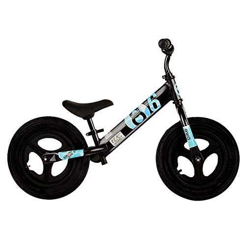 LXLA 10' Balance Bike with Air Rubber Tires, Adjustable Seat and Soft Non-slip Handle Bar, for Ages 1.5 – 4 Yrs Girls & Boys (Color : Black+Blue)