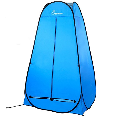 WolfWise Shower Tent Privacy Portable Camping Beach Toilet Pop Up Tents Changing Dressing Room Outdoor Backpack Shelter Blue