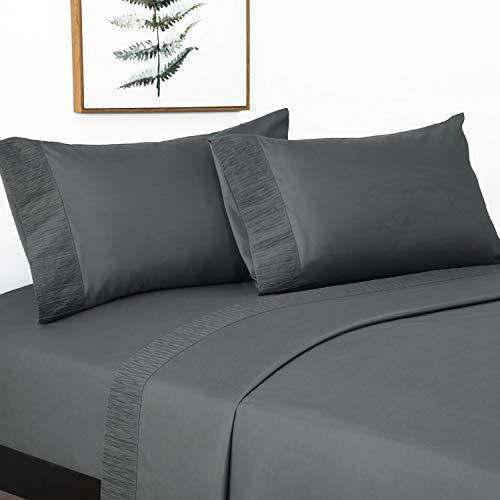 Bedsure Juego de Sábanas 180x190/200 cm - 4 Piezas - Sábana Bajera Ajustable Cama 150 con Encimera 280x275cm 2 Fundas de...