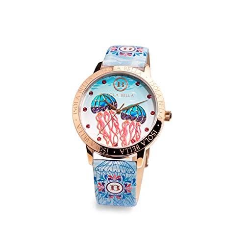 Reloj Isola Bella Medusa de acero, piel y circonitas 40000038