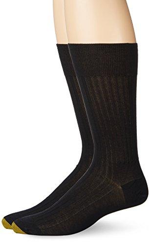 Gold Toe Men's Comfort Top Non-Elastic English Rib Crew Socks, 2-Pairs, Black, Large