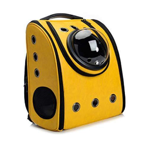 Haustierrucksack, tragbarer atmungsaktiver Rucksack für Katzen und Welpen, luftfahrtzertifizierter Reise- und Wanderkatzenrucksack (Color : Yellow)