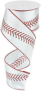 Baseball Ribbon Red Black White Wired Ribbon 2.5