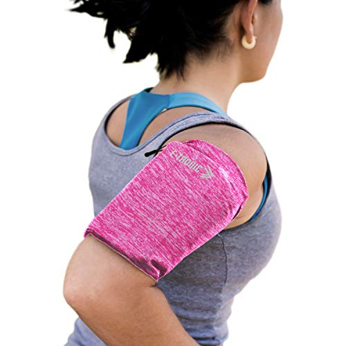 Phone Armband Sleeve: Running Sports Arm Band Strap Holder Pouch Case for Exercise Workout Compatible with iPhone 5S SE 6 6S 7 8 X Plus iPod Android Samsung Galaxy S5 S6 S7 S28 Pink Small