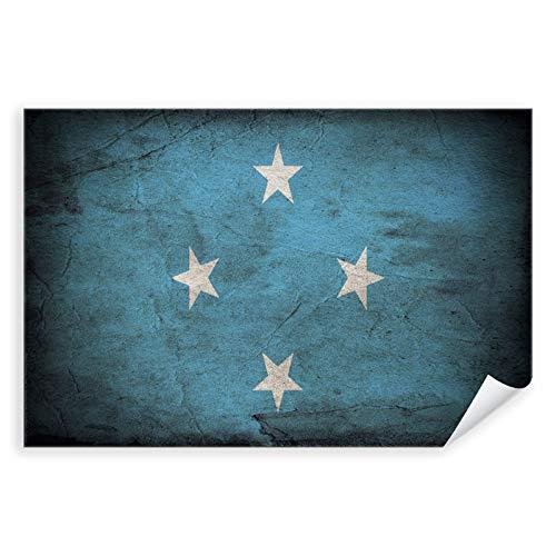 Postereck - 0382 - Vintage Flagge, Fahne Mikronesien Palikir - Unterricht Klassenzimmer Schule Wandposter Fotoposter Bilder Wandbild Wandbilder - Leinwand - 100,0 cm x 75,0 cm