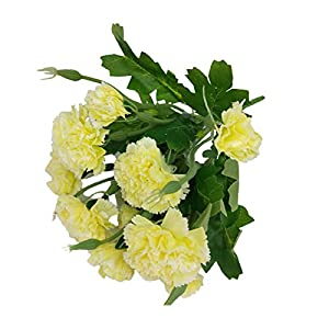 Yodio 10 Pcs Artificial Flowers Fake Carnation Real Touch Faux Tulip Latex Material for Home Garden Wedding Party Floral Decor,Yellow