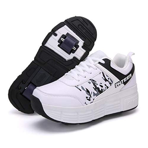 FZ FUTURE Kinder Schuhe mit Rollen, Skateboardschuhe mit Rollen, Drucktaste Einstellbare Skateboardschuhe für Kinder Mädchen Junge Erwachsene,Blue,39