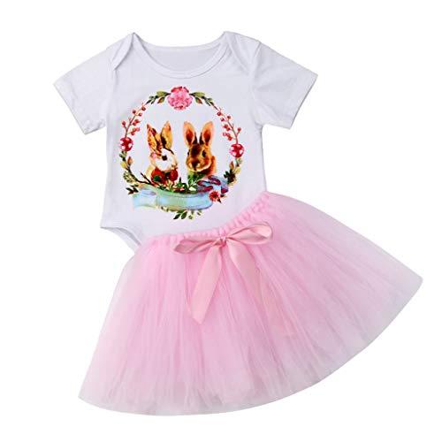 cover Ostern Bekleidungsset Baby Mädchen Hase T-Shirt + Tütu Rock + Hasenohren Stirnband Outfits Set