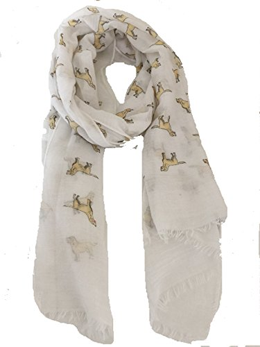 Pamper Yourself Now Weißen Labrador Design 2 langer Schal mit ausgefransten Rand- White Labrador dog design 2 Long scarf with frayed egde