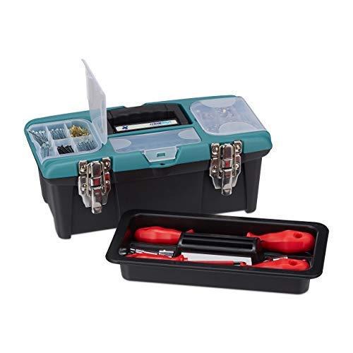 Relaxdays Werkzeugkoffer leer, mit Tragegriff, Kunststoff, abschließbar, Werkzeugkasten, HBT 13 x 33 x 18 cm, schwarz-grün