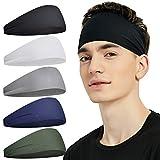 Pilamor Sports Headbands for Men (5 Pack),Moisture Wicking Workout Headband, Sweatband Headbands for Running,Cycling,Football, Yoga,Hairband for Women and Men(Gray, Green, White, Blue, Black)…
