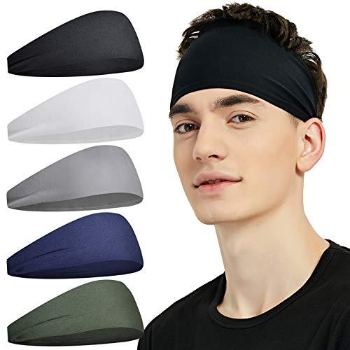 Pilamor Sports Headbands for Men (5 Pack),Moisture Wicking Workout Headband, Sweatband Headbands for Running,Cycling,Football, Yoga,Hairband for Women and Men(Gray, Green, White, Blue, Black)