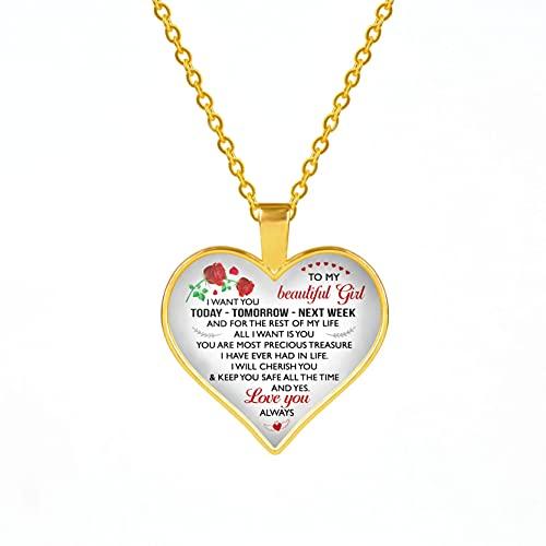 TUDUDU Collar con Colgante De Corazón Carta A Mi Hija/Mamá/Abuela Colgante Joyas Collar De Cadena De Color Dorado Mujeres Niñas Regalos Familiares Longitud De Cadena 60Cm