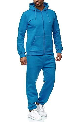 EGOMAXX Herren Jogginganzug einfarbig Basic Sportanzug2-TeiligTrainingsanzug Baggy, Farben:Blau, Größe Hosen:XXL