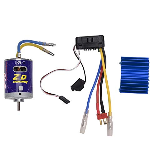 Bürstenmotor Brush Power Motor Kit, langlebiger 540 Brushed Motor mit Kühlrippe + 45A Brushed ESC Set für 1/10 RC Buggy Truggy Truck(Blau)