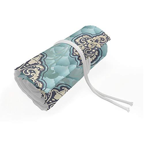 ABAKUHAUS Victoriaans Etui met Rolomslag voor Pennen, Rococo tijd perk ontwerpen, Duurzame & Draagbare Potloodetui, 72 Vakjes, Pale Blue Ivory