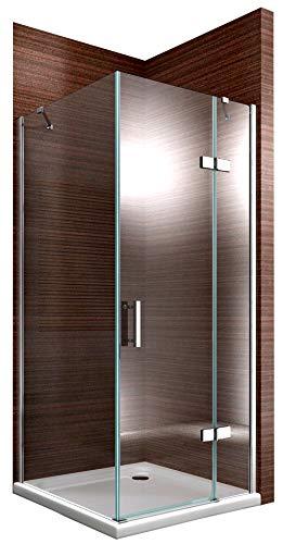 Duschkabine Eckdusche 8 mm Nano Echtglas DX403 - Breite wählbar, Montage:Tür-Anschlag Rechts, Breite Türelement:90cm, Breite Glas feststehend:80cm