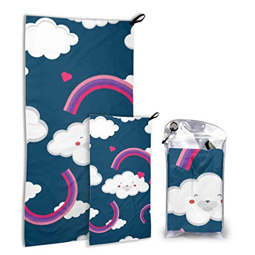 N\A Rainbow Sun Cloud Acitive 2 Pack Microfiber Outdoor Beach Towel Beach Towel Baby Set Fast Drying Best for Gym Travel Backpacking Yoga Fitnes