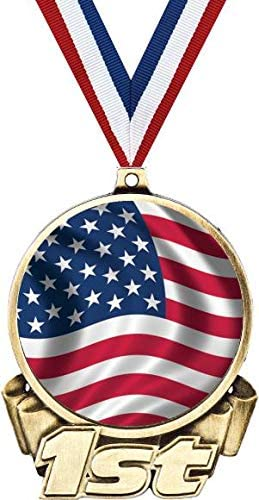 New sales American Flag First Place Medal 3