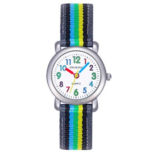 Kinderuhren Jungen Mädchen, Kinder wasserdichte Analoge Uhr Weiches Gummiband Einfach zu Lesen Dial Zeitunterricht Armbanduhr Kinder (Schwarz) (Grau)