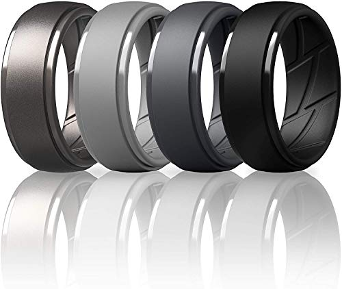 ThunderFit Silicone Wedding Ring for Men, Breathable with Air Flow Grooves - 10mm Wide - 2.5mm Thick (Black, Dark Grey, Light Grey, Light Brass - Size 9.5-10(19.8mm))