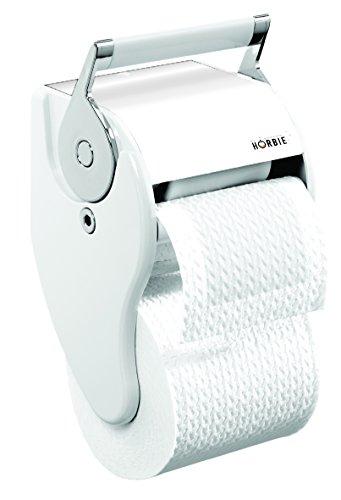 feuchtes oder trockenes Klopapier - Horbie WC - Papierspender 2in1 weiß | chrom - inkl. 1 Cartridge