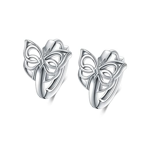 WINNICACA Celtic Knot Dangle Earrings Butterfly Celtic Earring 925 Sterling Silver Hoop Earrings Jewelry Birthday Gifts for Women Teens Girls