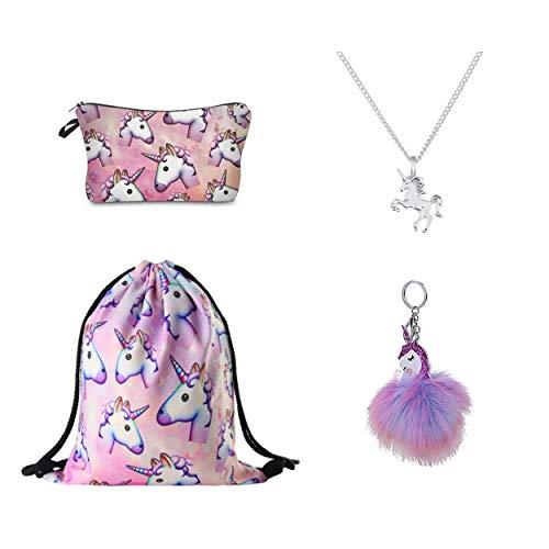 DRESHOW 4 Pack Cute Unicorn Mochila con cordón/Bolsa de maquillaje/Collar de cadena de aleación/Colgante mullido Llavero llavero Bolso de mano