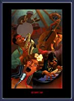 ポスター ジャスティン ブア Jazz Quintet 額装品 ウッドベーシックフレーム(ブルー)