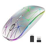 Uiosmuph Bluetooth U8 Ratón inalámbrico de 2,4 GHz, LED ratón...