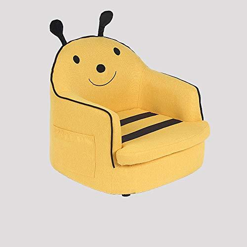 Paddia Kinder Schlafsofa mit Hocker Hocker Kissen Stoff Futon Baumwollkissen Kinder Sessel Einzel Doppelsitzer Sitz Jungen Mädchen Lounger Couch Gepolsterter Stuhl Möbel Heim gelb Sitzer Sofa