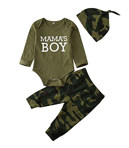 Conjunto de macaquinho para bebês recém-nascidos, meninas, roupas, dizeres de mamãe, camiseta estampada com camuflagem, calça + chapéus, A-mama's Boy, 0-3 Months