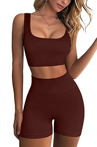 FAFOFA Stretchy Shorts Women Ribbed Exercise Outfits 2 Pieces Yoga Sports Bra and Leggings Set Coffee M