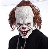 Clown Pennywise Maske mit Perücke Halloween Horror Latex Maske für Fasching Karneval Kostüm für Erwachsene Unisex Einheitsgröße