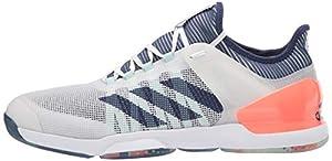 adidas Men's Adizero Ubersonic 2.0 Tennis Shoe, FTWR White/Tech Indigo/Signal Coral, 6.5 M US