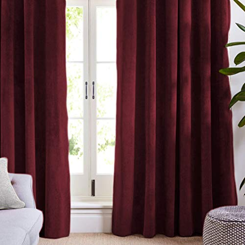 "Maison Atlas Velvet Window Panel Rod Pocket Back Tab, Cotton Lined Thermal Curtain, Solid Premium Velvet Collection, 95""x50"", Burgundy"