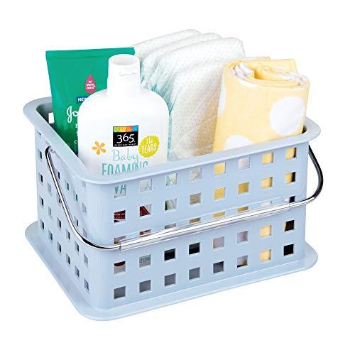 InterDesign Basic corbeille rangement, petit panier salle de bain en plastique pour accessoires de douche et soins, bleu ardoise