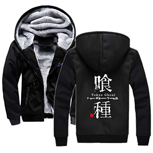 KLGZ Hombres Sudadera con Capucha De Invierno Polar Chaquetas Animado Tokio Ghoul Imprimir con Capucha para Niños Outwear Caliente Grueso Bolsillos Abrigos con Cierre De Cremallera Black2-4X-Large