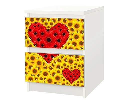 Set Möbelaufkleber für Ikea Kommode MALM 2 Fächer/Schubladen Blume Sonnenblume Kat3 gelb rot Liebe Herz Herzen Aufkleber Möbelfolie sticker (Ohne Möbel) Folie 25F093
