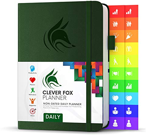 """Clever Fox Planner Daily - Best Agenda & Daily Calendar to Boost Productivity, Happiness & Hit Your Goals - Gratitude Journal Personal Daily Organizer - 5.8 x 8.3"""" Undated, Forest Green (Daily)"""