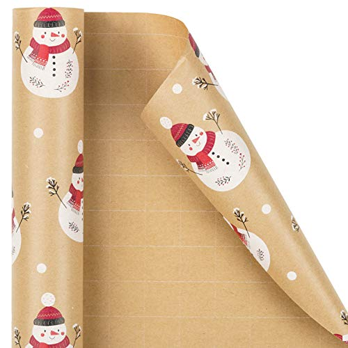 RUSPEPA Christmas Wrapping Paper, Kraft Paper - Christmas Design with Snowman - 30 inches x 32.8 feet