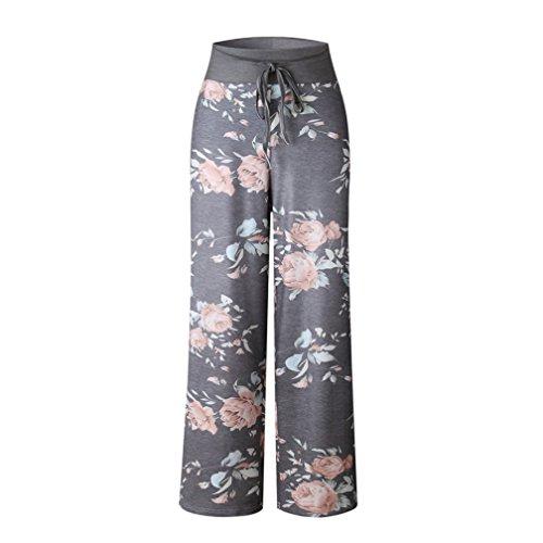 Kfnire Pantalones para Mujer, Pantalón de Pijama Casual para Mujer con cordón Estampado Floral Palazzo Lounge pantalón Ancho Pierna (M, A- Gris)