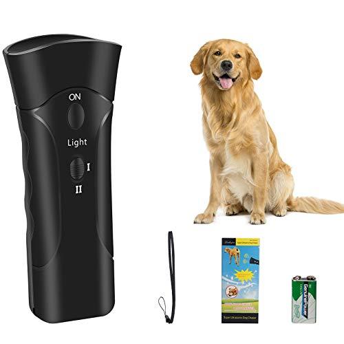 Comius Sharp Antiladridos Perros, 2020 Nuevo Dispositivo antiladrido, Ultrasonidos para Perros, Control de Corteza para Perros, Repelente de Perros 3 en 1/ Herramienta de Entrenamiento/Linterna LED
