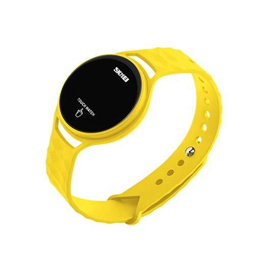 A-ZHP Herren-Armbanduhr Sportuhr im Freien wasserdichte LED elektronische Digitale Touchscreen Multifunktions Datum leuchtende Uhr gelb blau (Farbe : A)