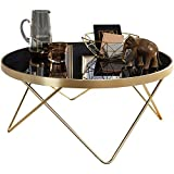 FineBuy Design Table Verre métal ø 82 cm Noir/Or | Table du canapé Moderne | Table Basse en Verre Table | Table de Salon Rond