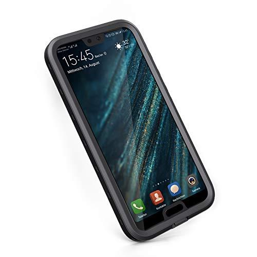 meritcase Huawei P20 Hülle, IP68 Wasserdicht Stoßfest Staubdicht Schneefest Superdünn Leicht Handyhülle Outdoor Unterwassergehäuse Full Body Schutzhülle für Huawei P20 (Schwarz)