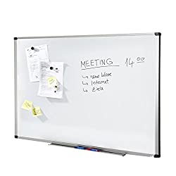 MOB Whiteboard Economy   Testnote 1,5   schutzlackierte Magnettafel beschreibbar - im stabilen Alurahmen   als Magnetwand, Memoboard - 90x120cm