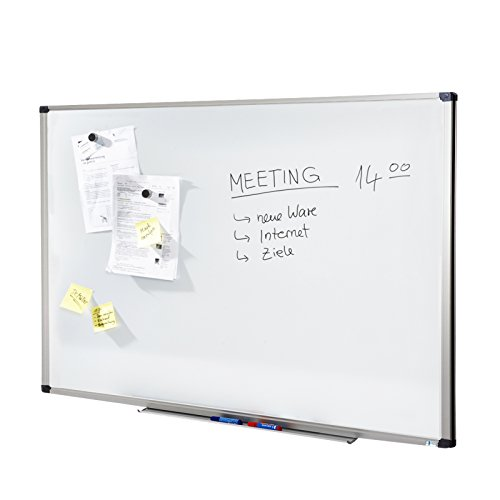 MOB Whiteboard Economy | Testnote 1,5 | schutzlackierte Magnettafel beschreibbar - im stabilen Alurahmen | als Magnetwand, Memoboard - 80x110 cm