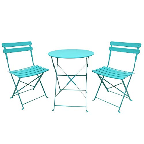 OC Orange-Casual Premium Steel Patio Bistro Set, Folding Outdoor Furniture Sets, 3 Piece Set of Foldable Chairs and Table, Blue